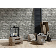 Satintapete Authentic Walls Naturstein Grau