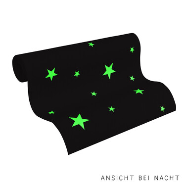 Tapete Day & Night -Glow in the Dark- Sterne Weiß