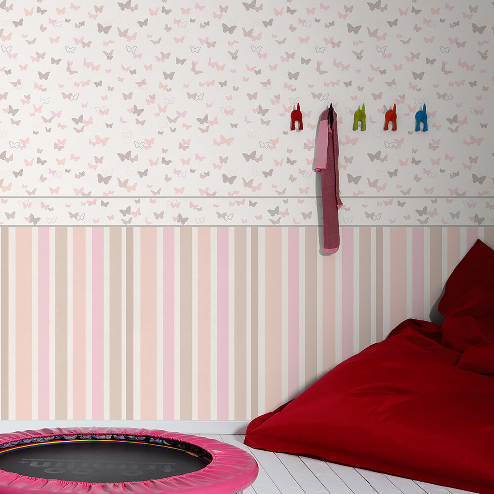 tapete esprit kids 4 streifen rosa beige dasherzallerlieb. Black Bedroom Furniture Sets. Home Design Ideas