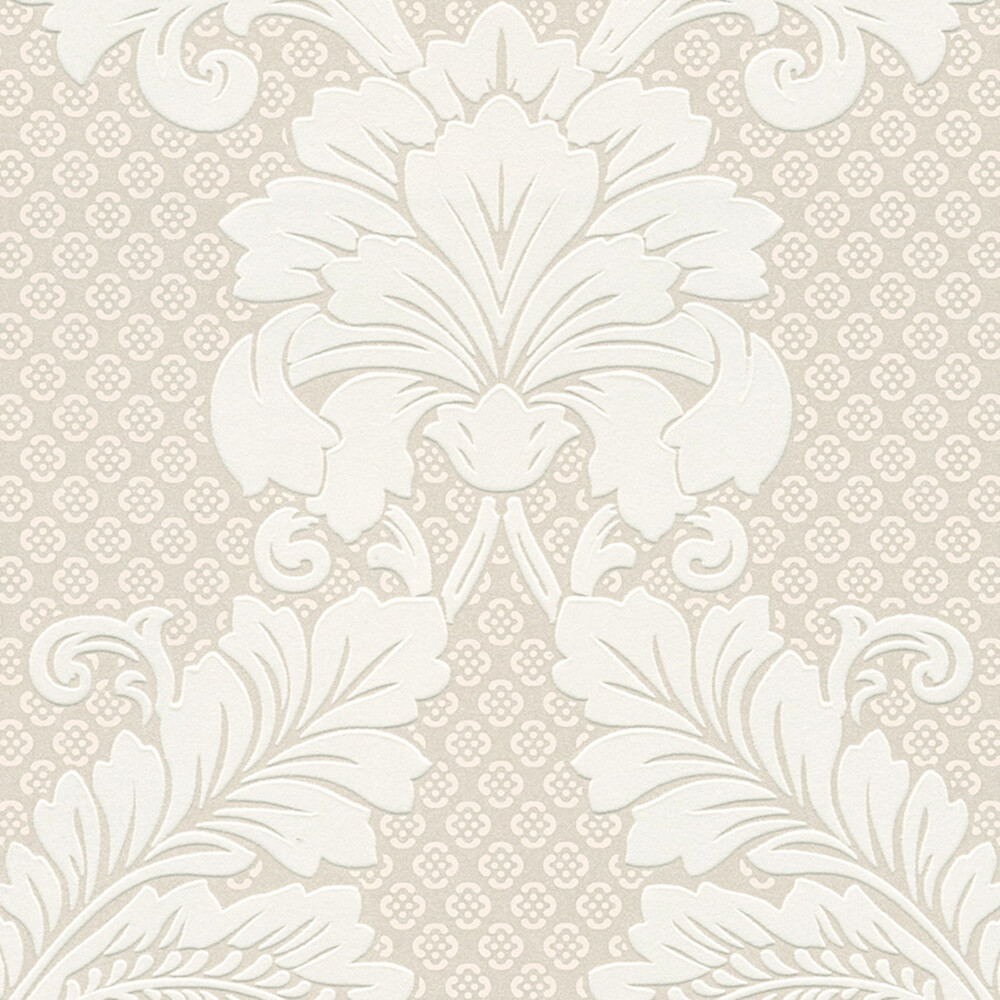 Tapete luxury wallpaper ornamente echtflock beige dhal for Ornament tapete