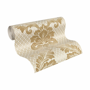 Tapete Luxury wallpaper Ornamente Echtflock Gold
