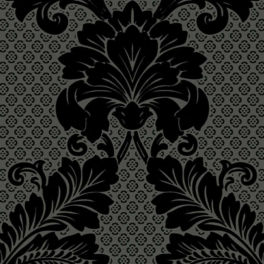 tapete luxury wallpaper ornamente echtflock schwarz dashe. Black Bedroom Furniture Sets. Home Design Ideas