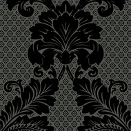 Tapete Luxury wallpaper Ornamente Echtflock Schwarz