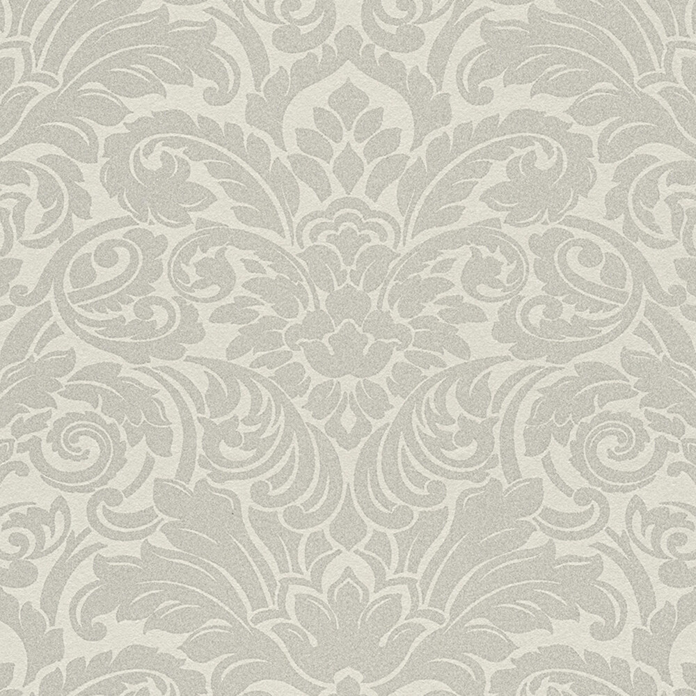 Tapete luxury wallpaper ornamente glasperlen silber dhal for Ornament tapete