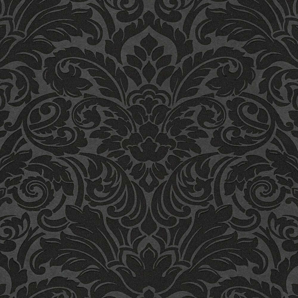 tapete luxury wallpaper ornamente glasperlen schwarz - Schwarz Tapete