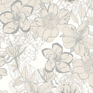 Tapete Urban Flowers Blumen Beige Metallic