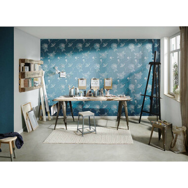 Vliestapete Moments Blau Metallic