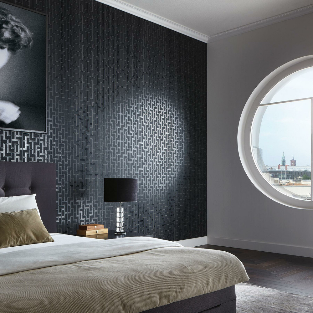 tapete high rise grafik schwarz silber dasherzallerliebst. Black Bedroom Furniture Sets. Home Design Ideas