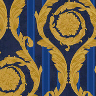 Versace Home Barocco and Stripes Blau Gold Ornament Kroko