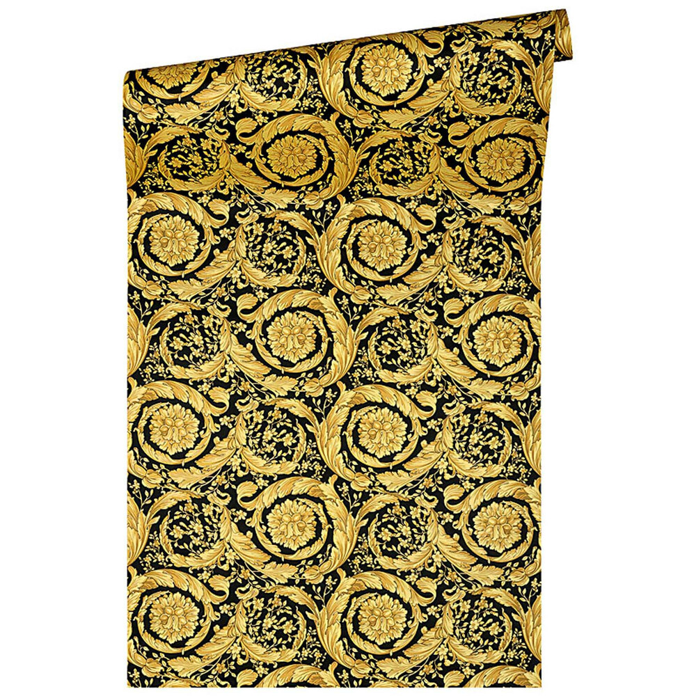 Versace home barocco flowers floral ornament tapete schwarz gold dh - Tapete schwarz gold ...