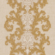 Baroque & Roll Versace Ornament Tapete Gemustert Beige Gold
