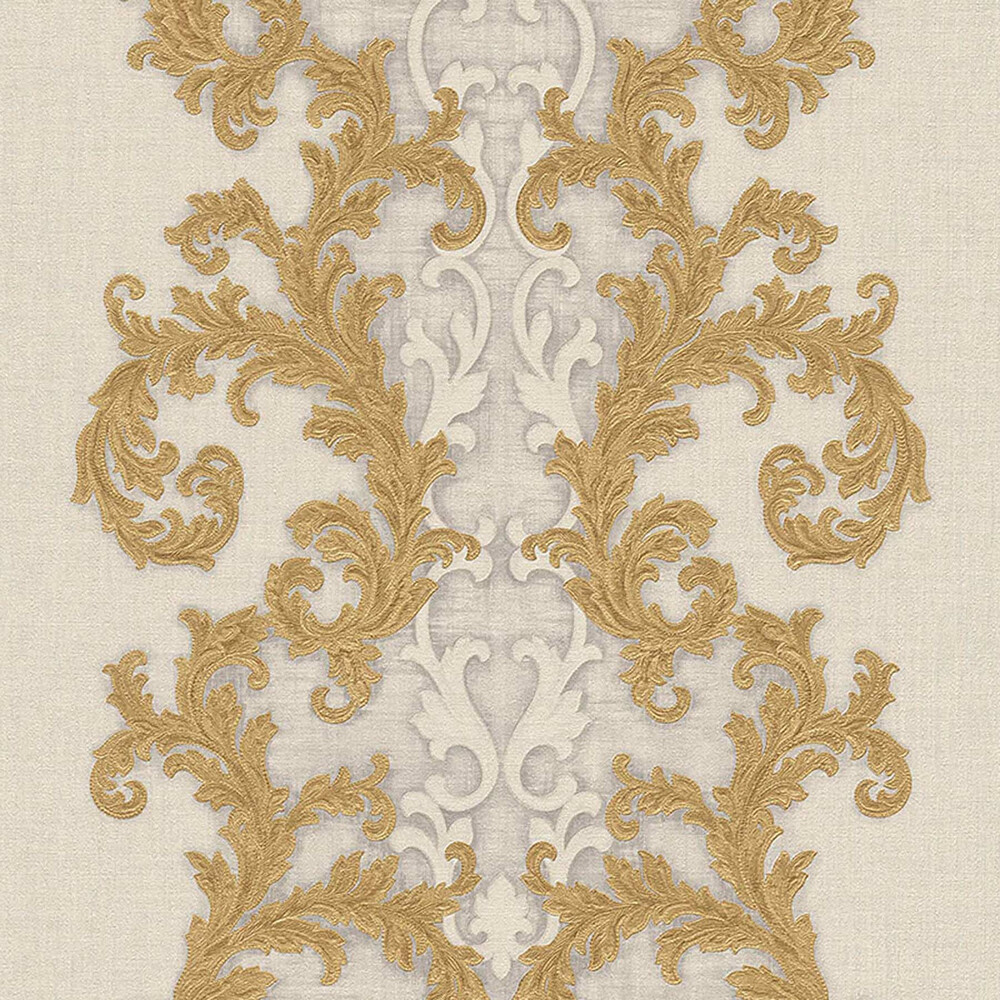 Baroque Roll Versace Ornament Tapete Gemustert Creme Gold