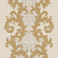 Baroque & Roll Versace Ornament Tapete Gemustert Creme Gold
