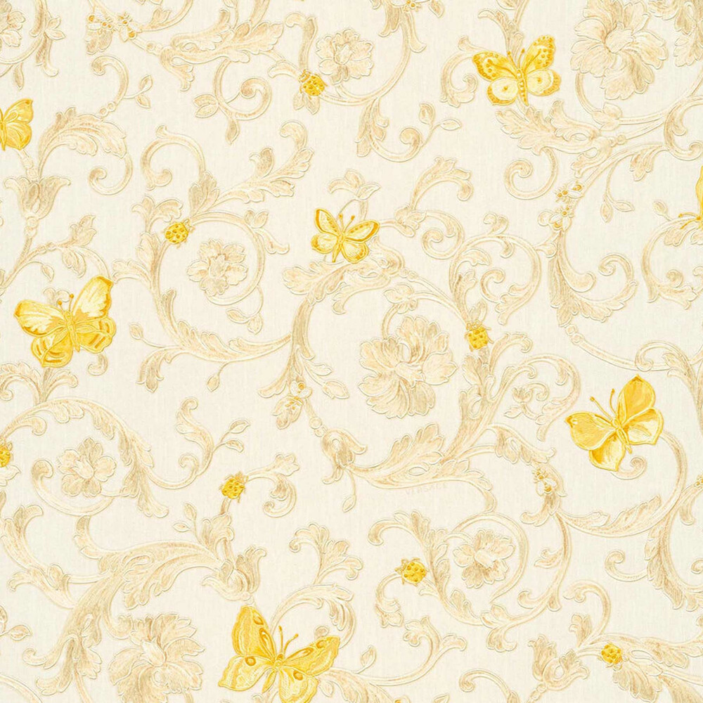 Butterfly Barocco Versace Home Floral Tapete Creme Gelb Glitzer Dha