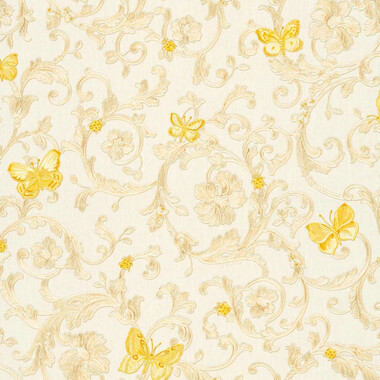 Butterfly Barocco Versace Home Floral Tapete Creme Gelb Glitzer
