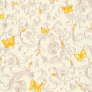 Butterfly Barocco Versace Home Floral Tapete Silber Gelb...