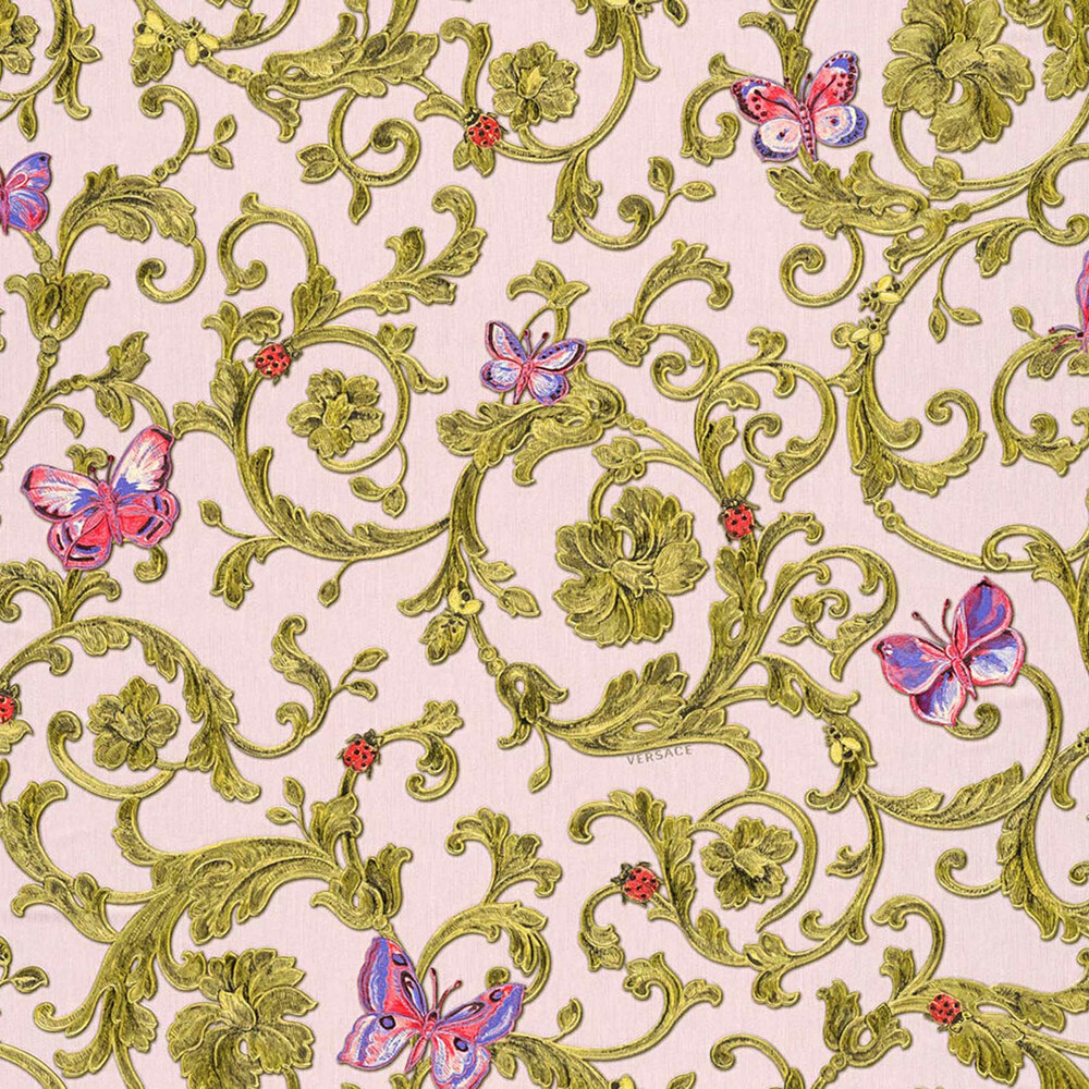 Butterfly Barocco Versace Home Floral Tapete Rosa Glitzer