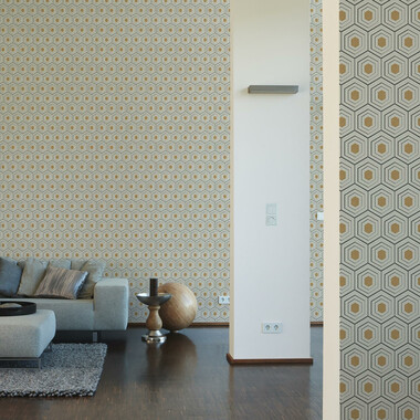 Tapete Four Seasons Beige Gold Geometrisch